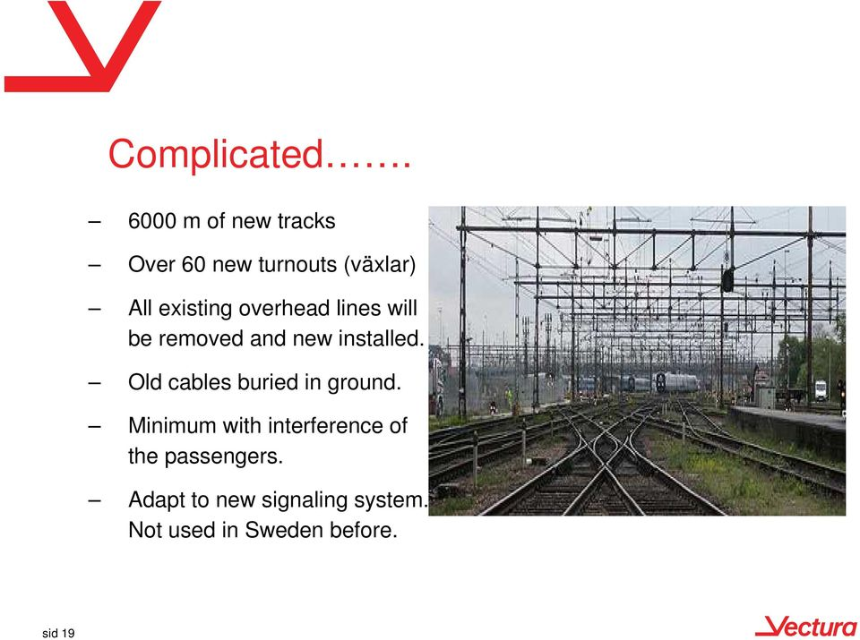overhead lines will be removed and new installed.