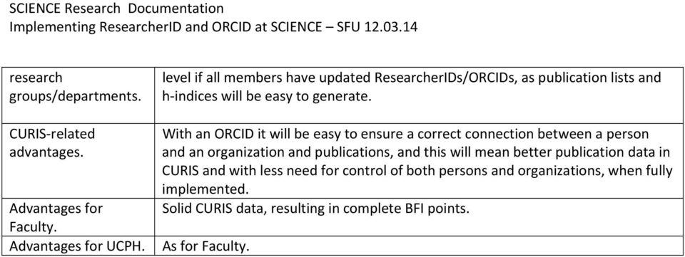 level if all members have updated ResearcherIDs/ORCIDs, as publication lists and h indices will be easy to generate.