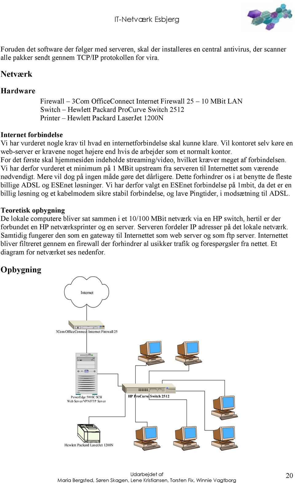 Netværk Hardware Firewall 3Com OfficeConnect Internet Firewall 25 10 MBit LAN Switch Hewlett Packard ProCurve Switch 2512 Printer Hewlett Packard LaserJet 1200N Internet forbindelse Vi har vurderet