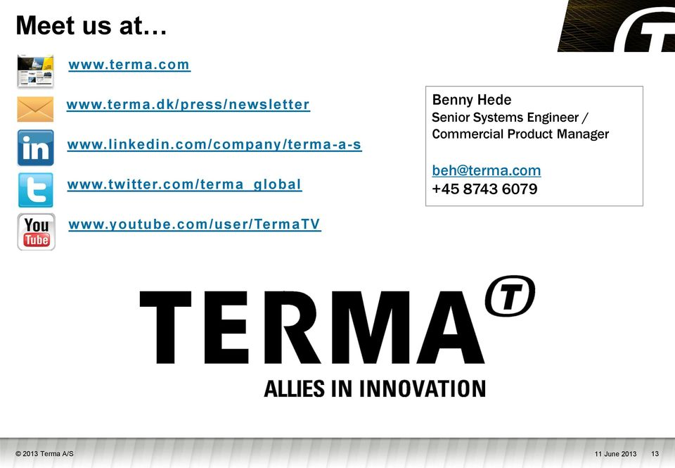 com/terma_global Benny Hede Senior Systems Engineer / Commercial