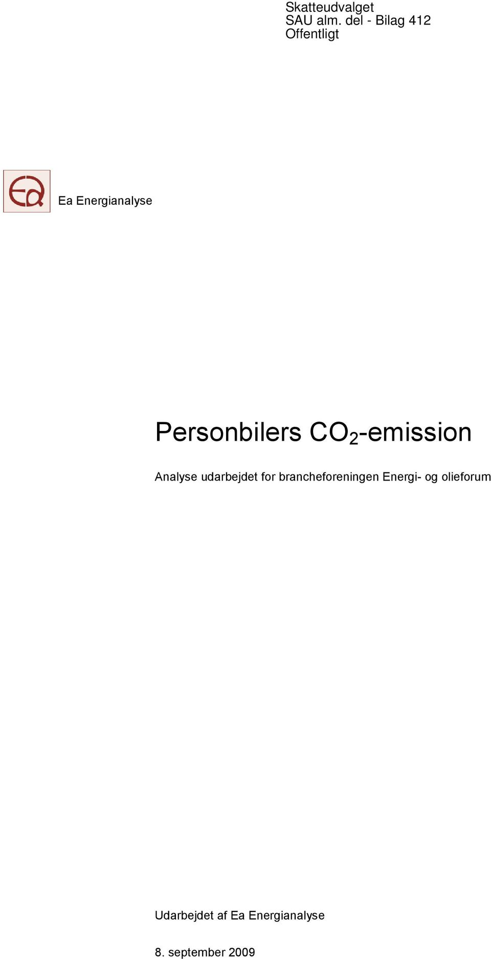 Personbilers CO 2 -emission Analyse udarbejdet for
