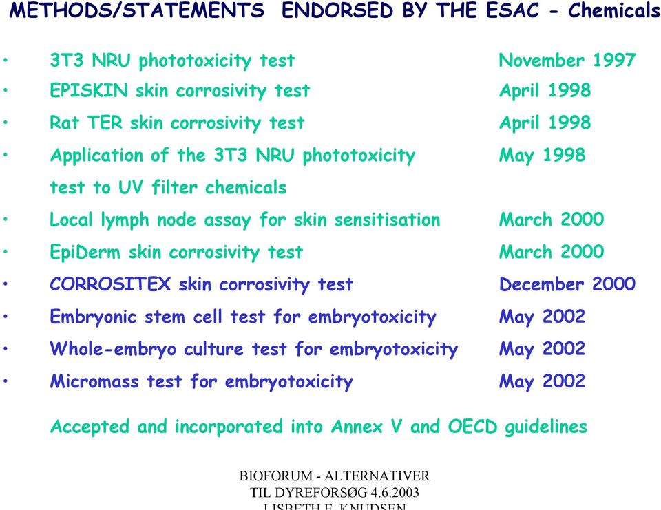 March 2000 EpiDerm skin corrosivity test March 2000 CORROSITEX skin corrosivity test December 2000 Embryonic stem cell test for embryotoxicity May 2002