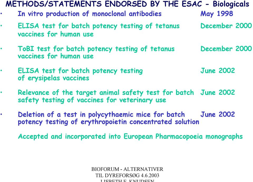 June 2002 of erysipelas vaccines Relevance of the target animal safety test for batch June 2002 safety testing of vaccines for veterinary use Deletion of a
