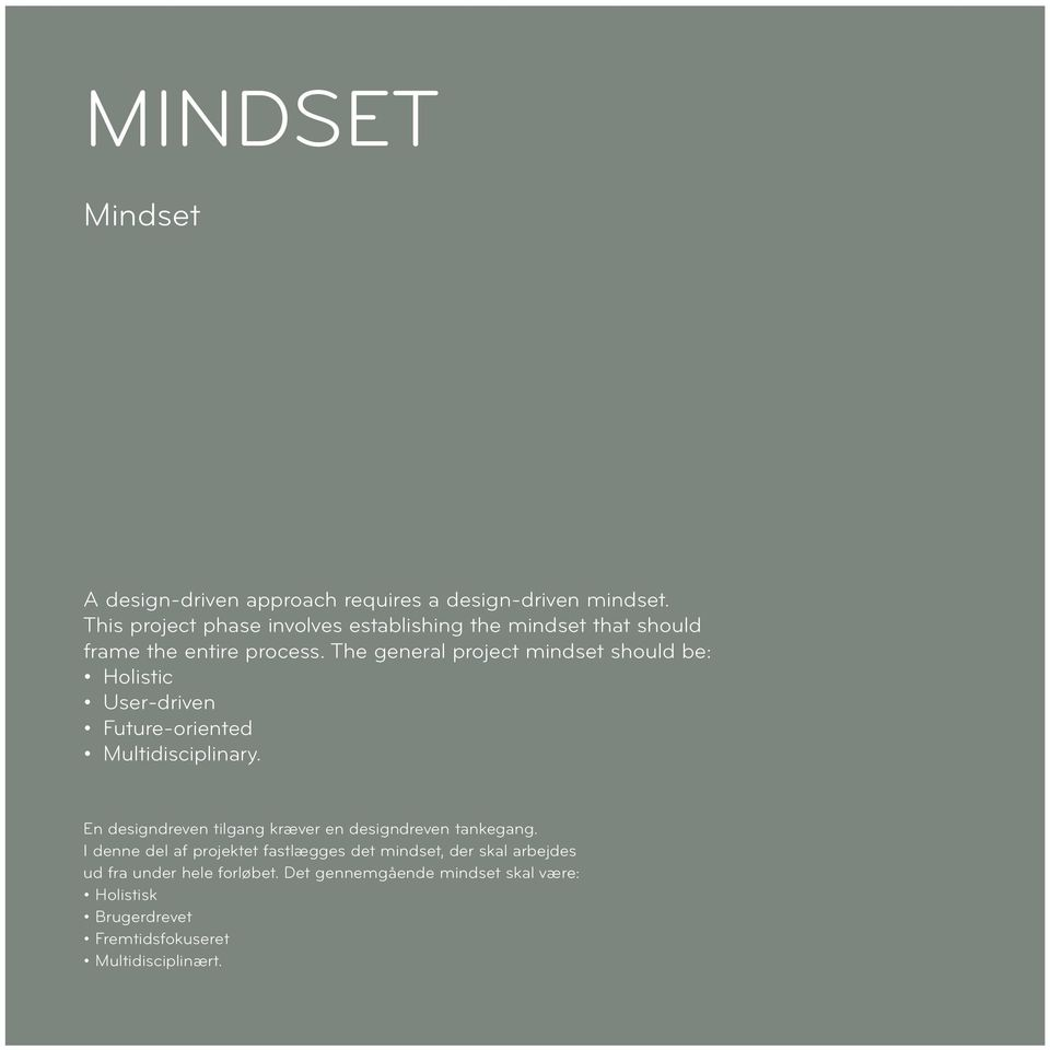 The general project mindset should be: Holistic User-driven Future-oriented Multidisciplinary.