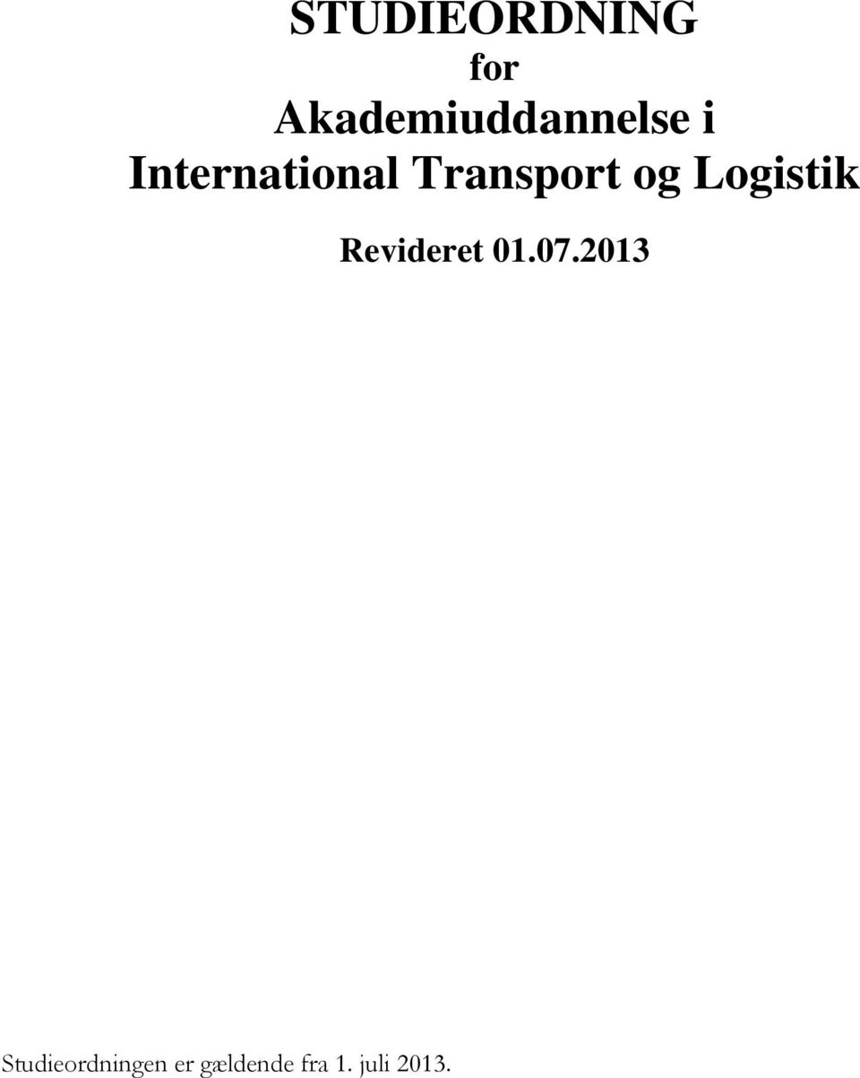 Transport og Logistik Revideret 01.
