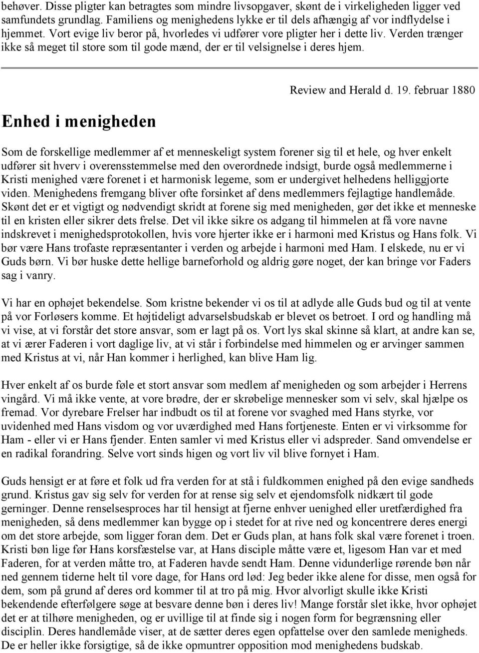 Enhed i menigheden Review and Herald d. 19.