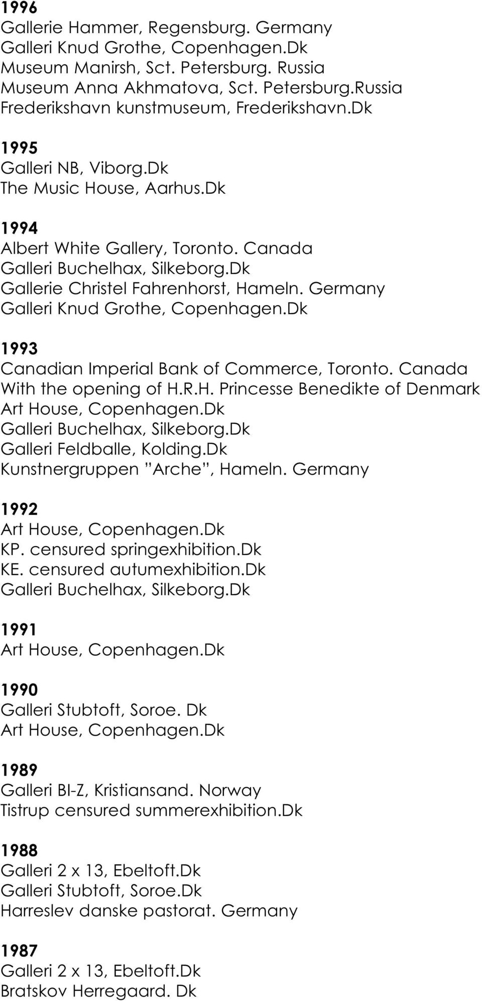 Germany 1993 Canadian Imperial Bank of Commerce, Toronto. Canada With the opening of H.R.H. Princesse Benedikte of Denmark Galleri Buchelhax, Silkeborg.Dk Galleri Feldballe, Kolding.
