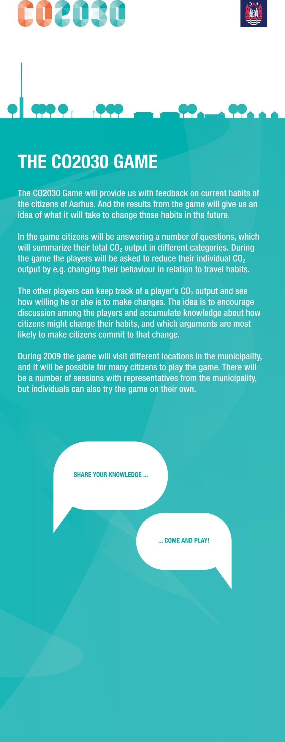 In the game citizens will be answering a number of questions, which will summarize their total CO output in different categories.