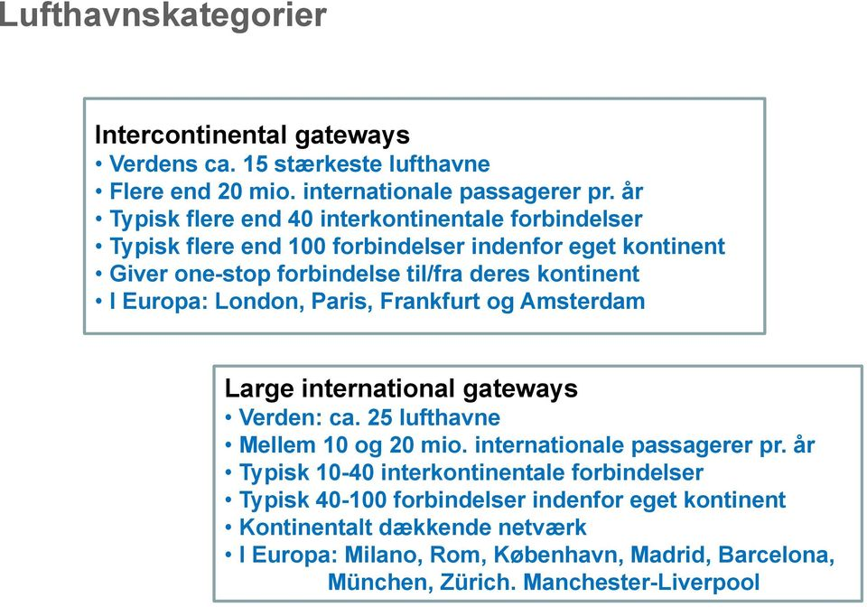 Europa: London, Paris, Frankfurt og Amsterdam Large international gateways Verden: ca. 25 lufthavne Mellem 10 og 20 mio. internationale passagerer pr.
