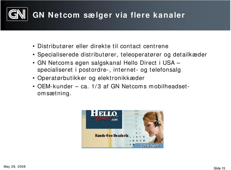 Hello Direct i USA specialiseret i postordre-, internet- og telefonsalg