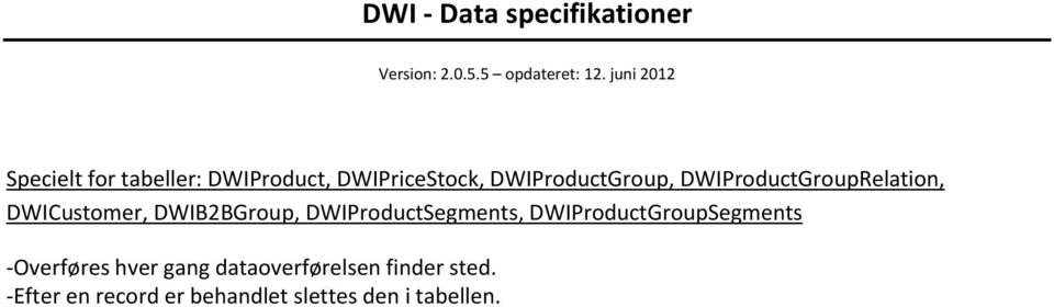 DWIB2BGroup, DWIProductSegments, DWIProductGroupSegments