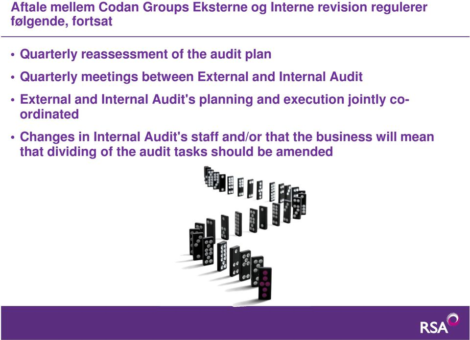 Audit External and Internal Audit's planning and execution jointly coordinated Changes in