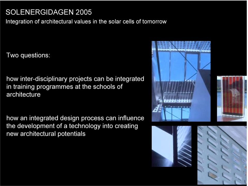 training programmes at the schools of architecture how an integrated design