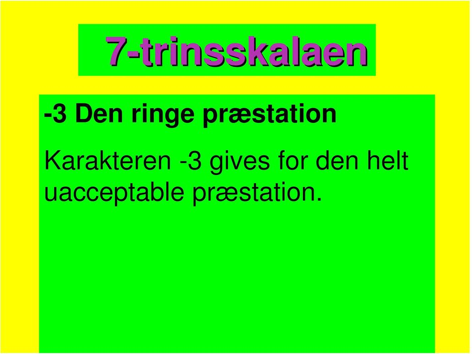 Karakteren -3 gives for