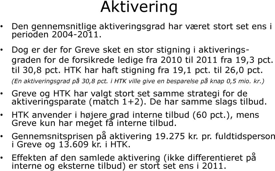 (En aktiveringsgrad på 30,8 pct. i HTK ville give en besparelse på knap 0,5 mio. kr.) Greve og HTK har valgt stort set samme strategi for de aktiveringsparate (match 1+2).