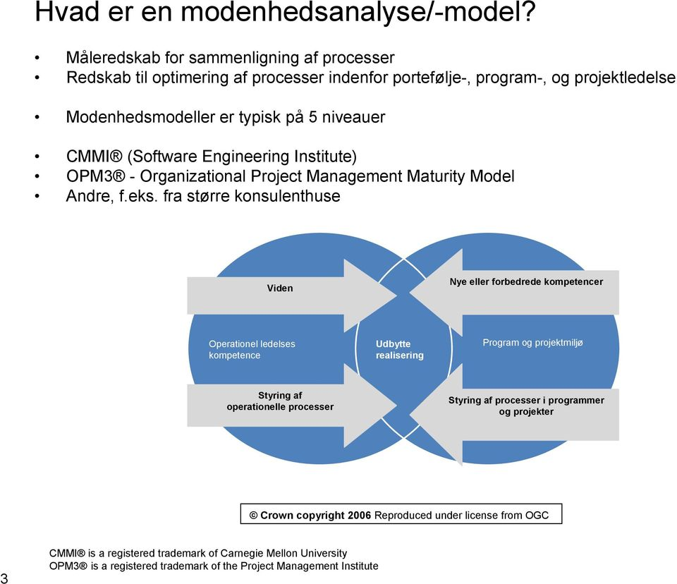 (Software Engineering Institute) OPM3 - Organizational Project Management Maturity Model Andre, f.eks.