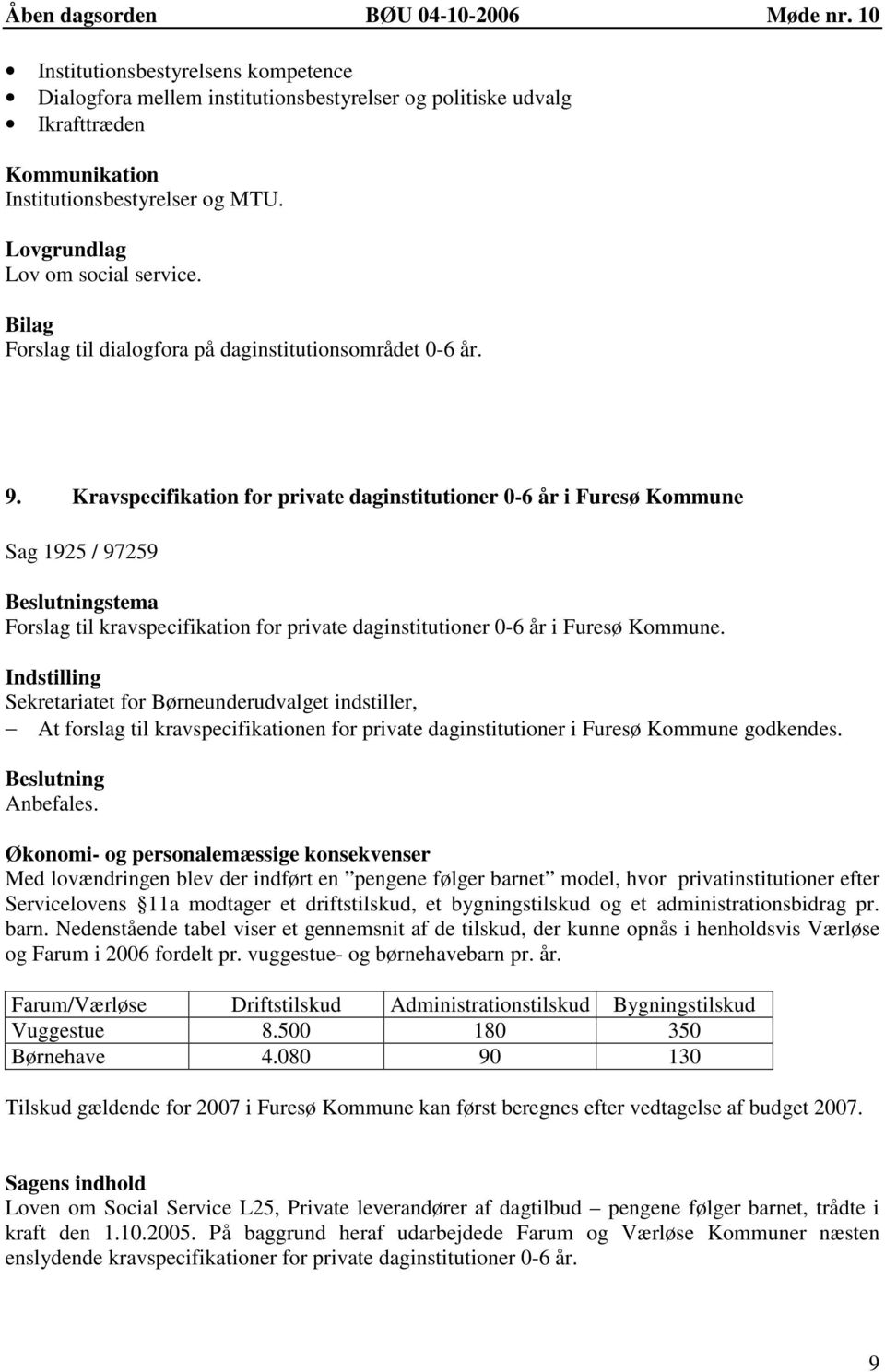 Kravspecifikation for private daginstitutioner 0-6 år i Furesø Kommune Sag 1925 / 97259 stema Forslag til kravspecifikation for private daginstitutioner 0-6 år i Furesø Kommune.