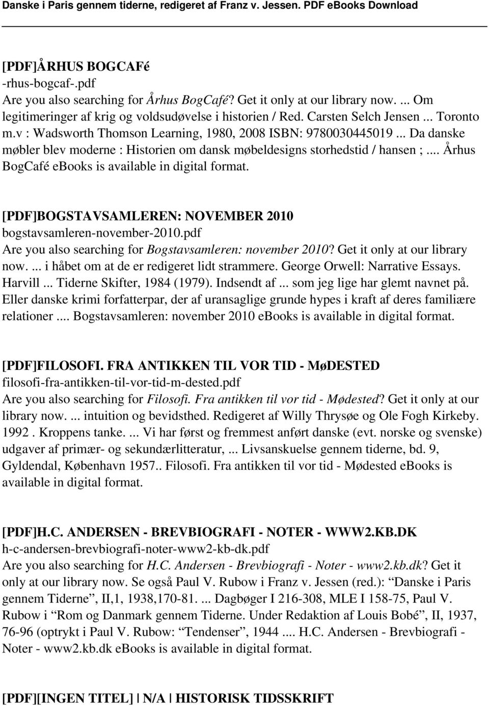 .. Århus BogCafé ebooks is [PDF]BOGSTAVSAMLEREN: NOVEMBER 2010 bogstavsamleren-november-2010.pdf Are you also searching for Bogstavsamleren: november 2010? Get it only at our library now.