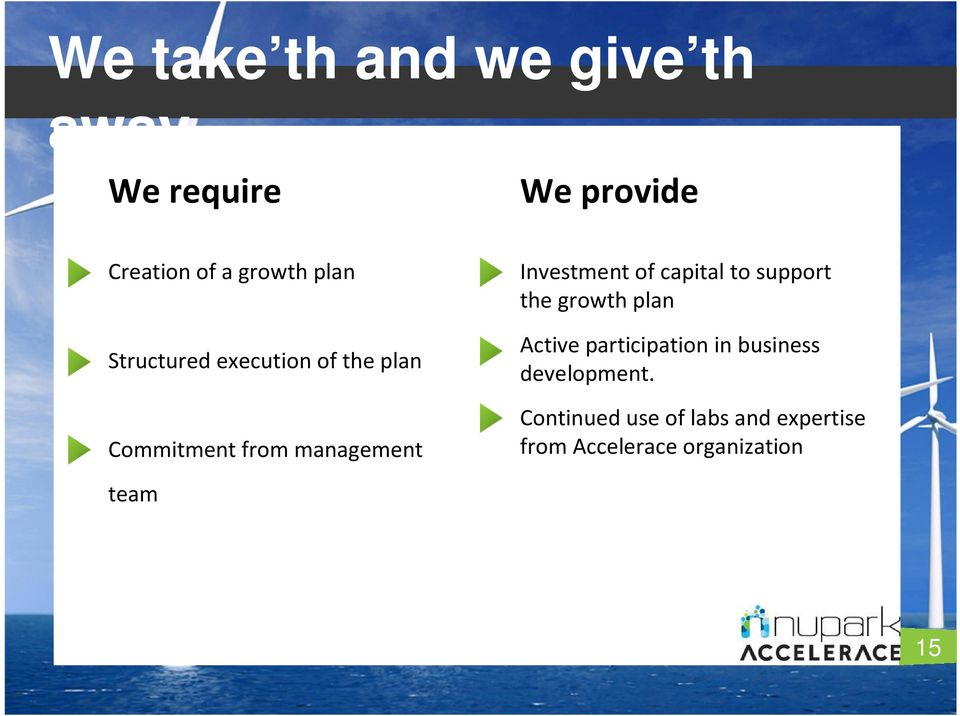 of capital to support the growth plan Active participation in business