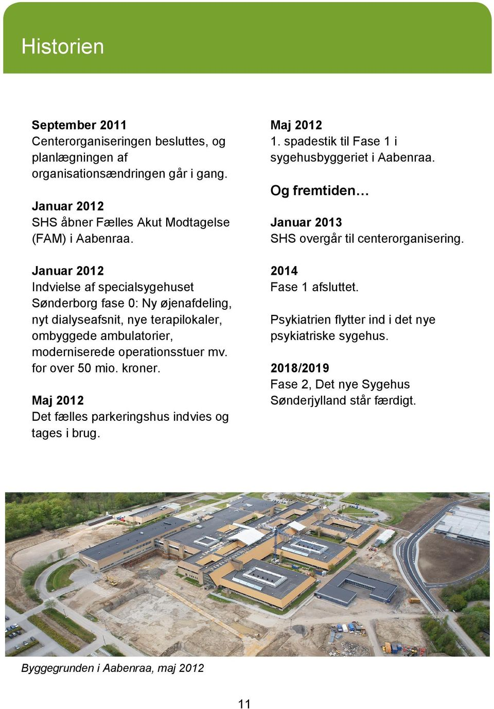 Januar 2012 Indvielse af specialsygehuset Sønderborg fase 0: Ny øjenafdeling, nyt dialyseafsnit, nye terapilokaler, ombyggede ambulatorier, moderniserede operationsstuer mv.