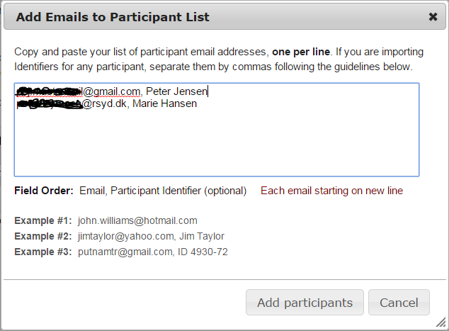 Invited survey manage participants The list of email adresses and identifiers are added via Add participants button.