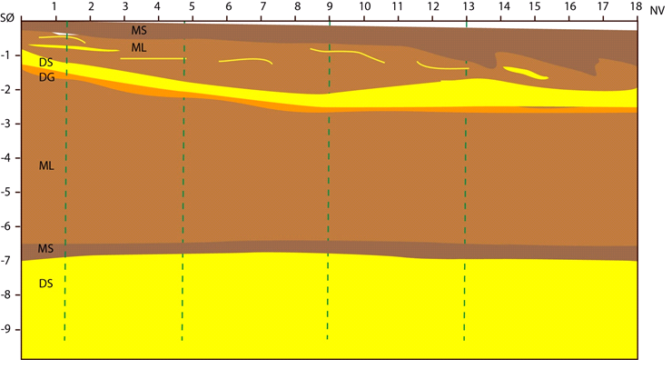 Figure 14: Geologic profile showing the truth from the excavation.