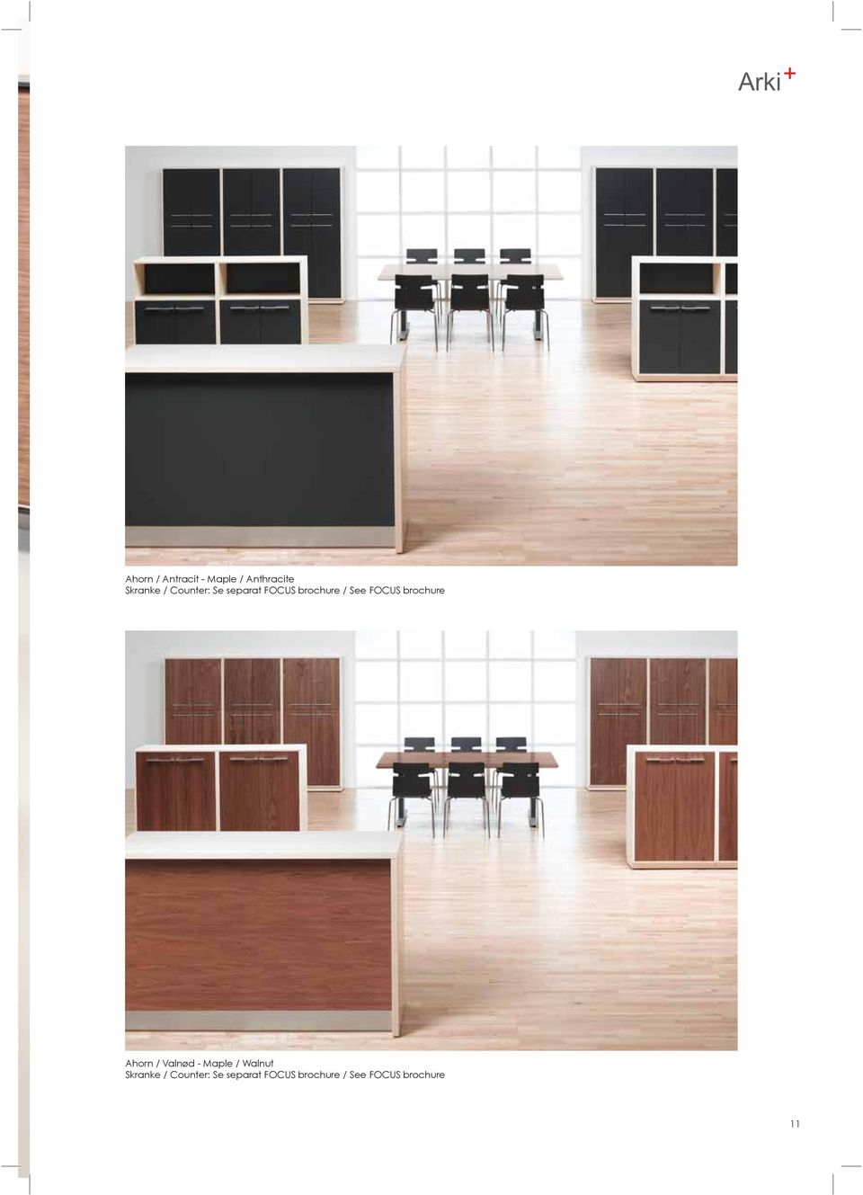 brochure Ahorn / Valnød - Maple / Walnut Skranke