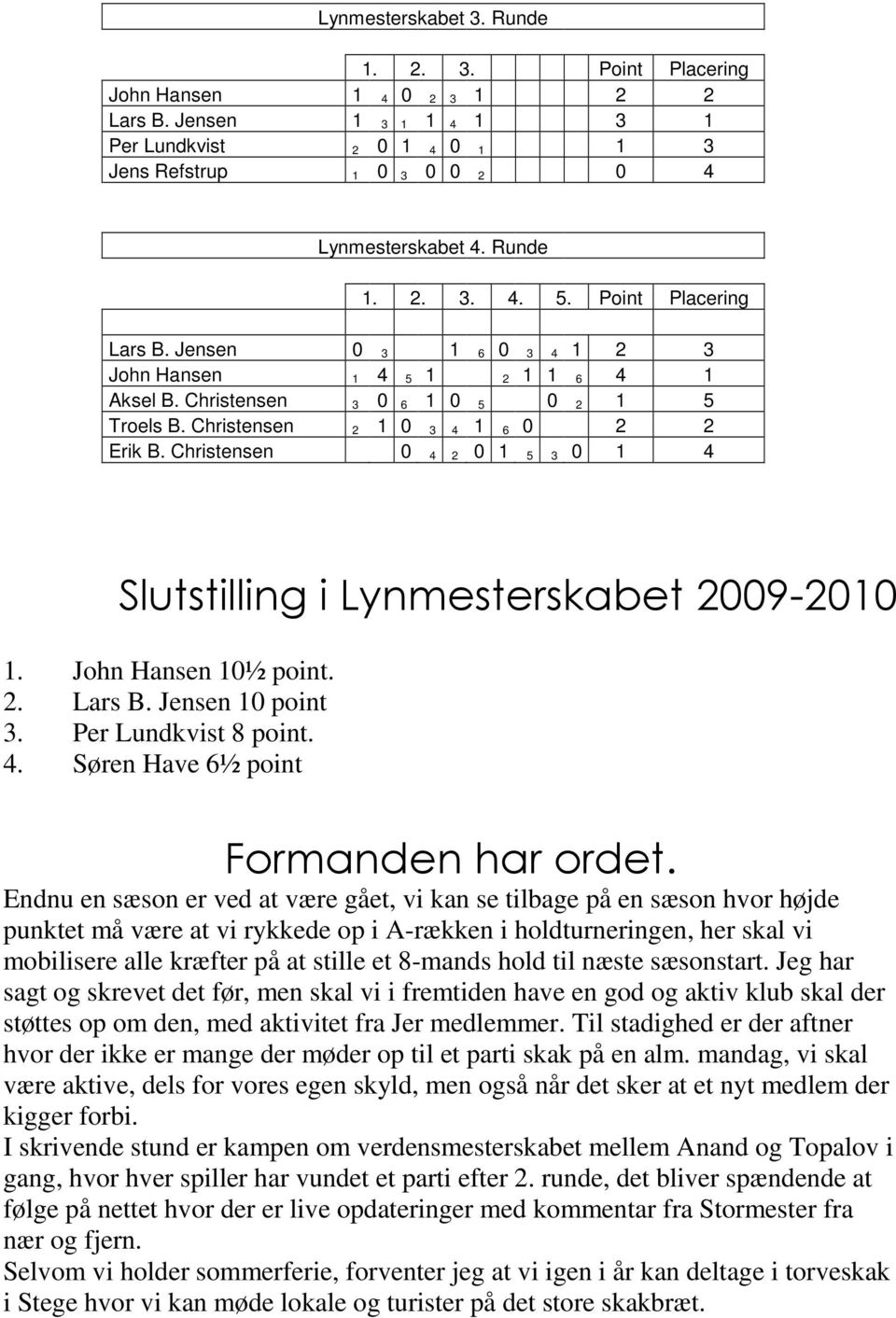 Christensen 0 4 2 0 1 5 3 0 1 4 Slutstilling i Lynmesterskabet 2009-2010 1. John Hansen 10½ point. 2. Lars B. Jensen 10 point 3. Per Lundkvist 8 point. 4. Søren Have 6½ point Formanden har ordet.
