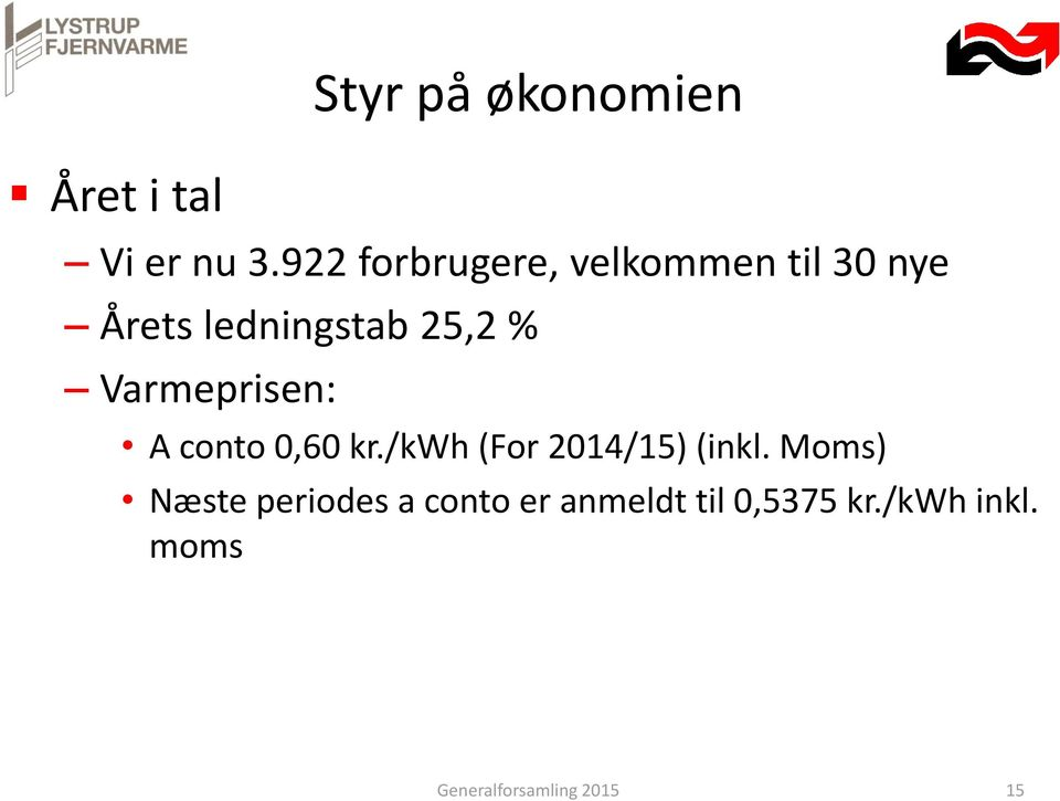 Varmeprisen: A conto 0,60 kr./kwh (For 2014/15) (inkl.