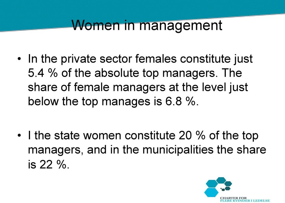 The share of female managers at the level just below the top