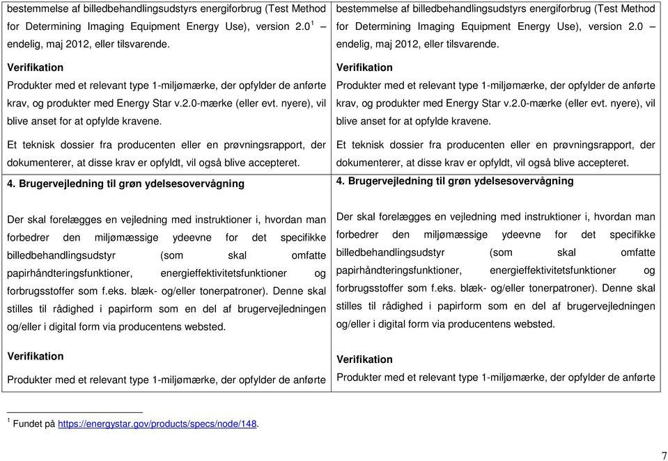Brugervejledning til grøn ydelsesovervågning bestemmelse af billedbehandlingsudstyrs energiforbrug (Test Method for Determining Imaging Equipment Energy Use), version 2.
