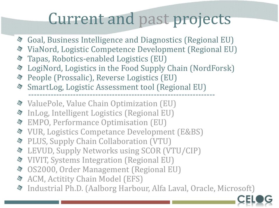 ValuePole, Value Chain Optimization (EU) InLog, Intelligent Logistics (Regional EU) EMPO, Performance Optimisation (EU) VUR, Logistics Competance Development (E&BS) PLUS, Supply Chain Collaboration