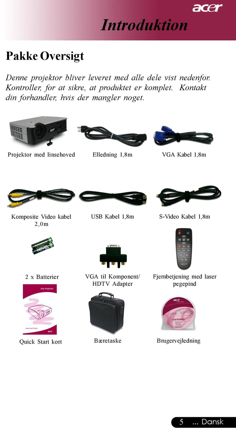 Projektor med linsehoved Elledning 1,8m VGA Kabel 1,8m Komposite Video kabel 2,0m USB Kabel 1,8m S-Video
