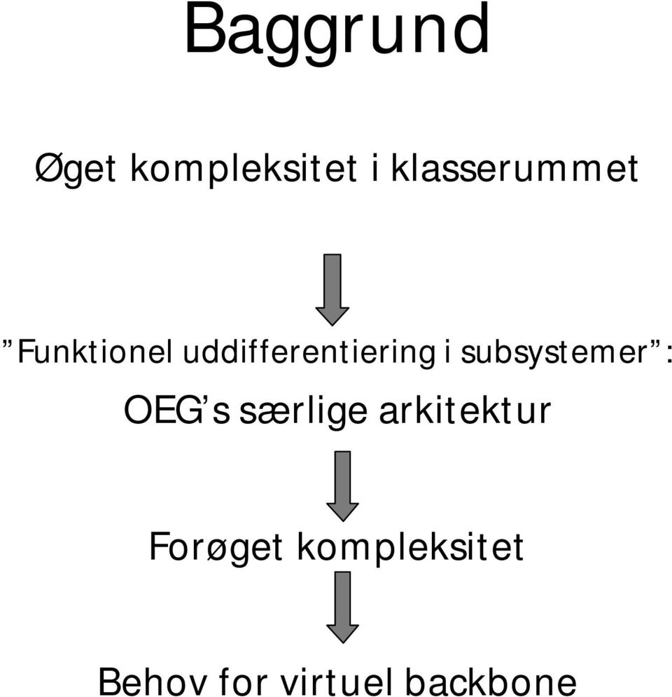 uddifferentiering i subsystemer : OEG s