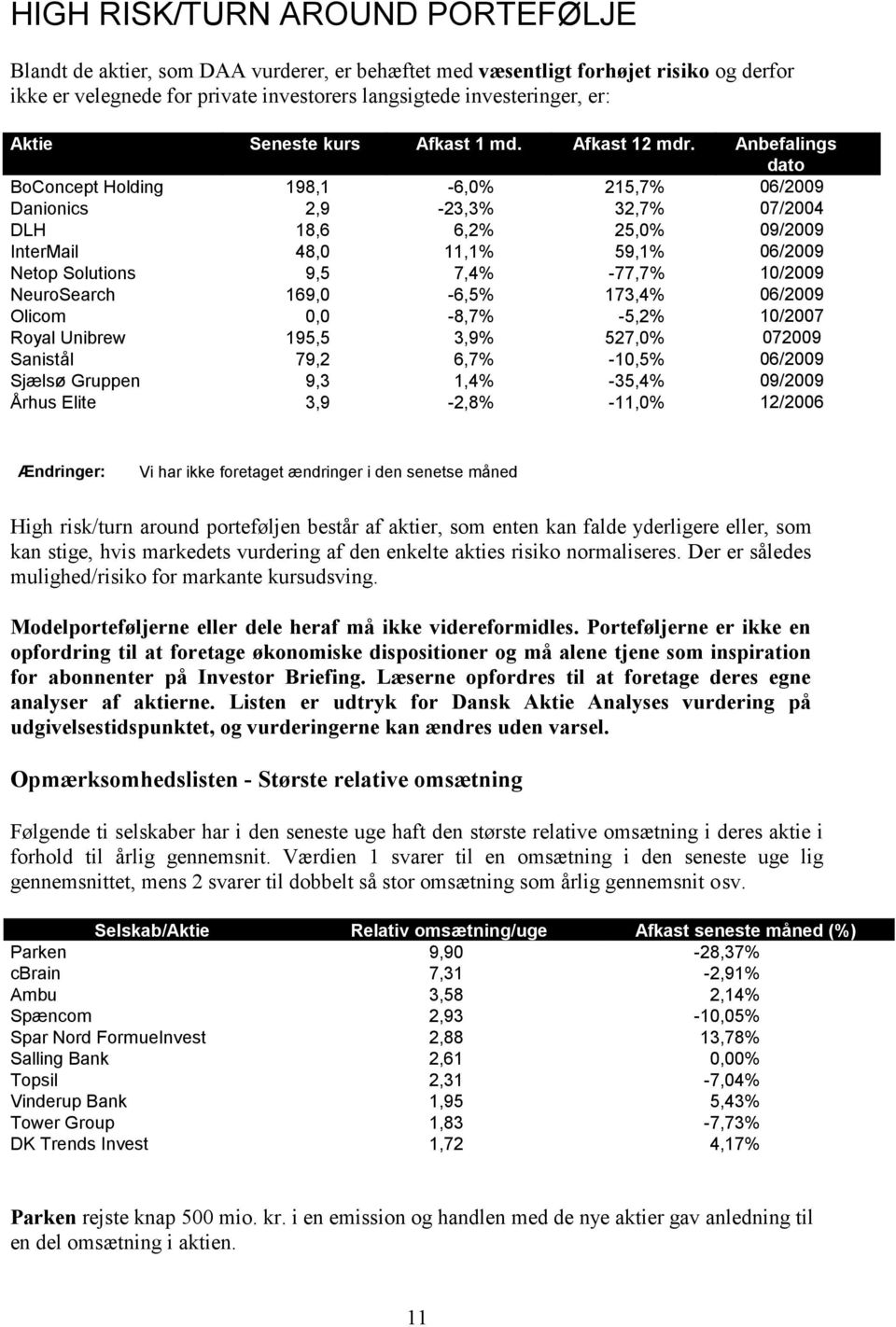 Anbefalings dato BoConcept Holding 198,1 6, 215,7% 06/2009 Danionics 2,9 23,3% 32,7% 07/2004 DLH 18,6 6,2% 25, 09/2009 InterMail 48,0 11,1% 59,1% 06/2009 Netop Solutions 9,5 7,4% 77,7% 10/2009