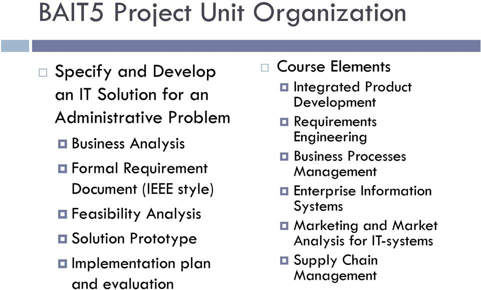 plan and evaluation Course Elements Integrated Product Development Requirements Engineering Business