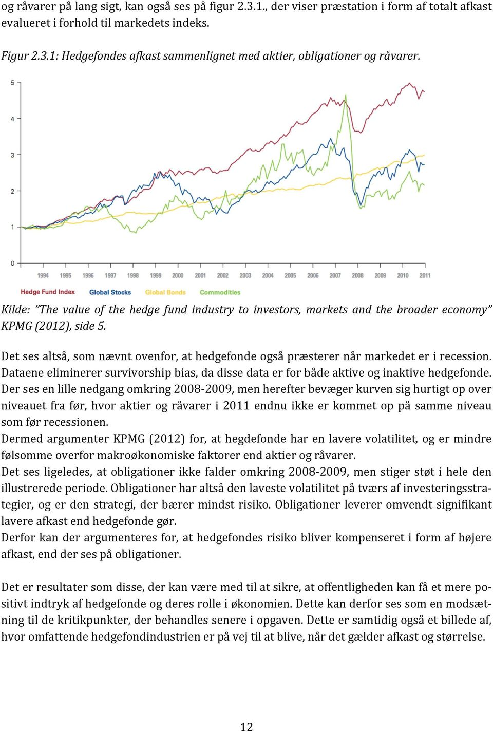 Det ses altså, som nævnt ovenfor, at hedgefonde også præsterer når markedet er i recession. Dataene eliminerer survivorship bias, da disse data er for både aktive og inaktive hedgefonde.