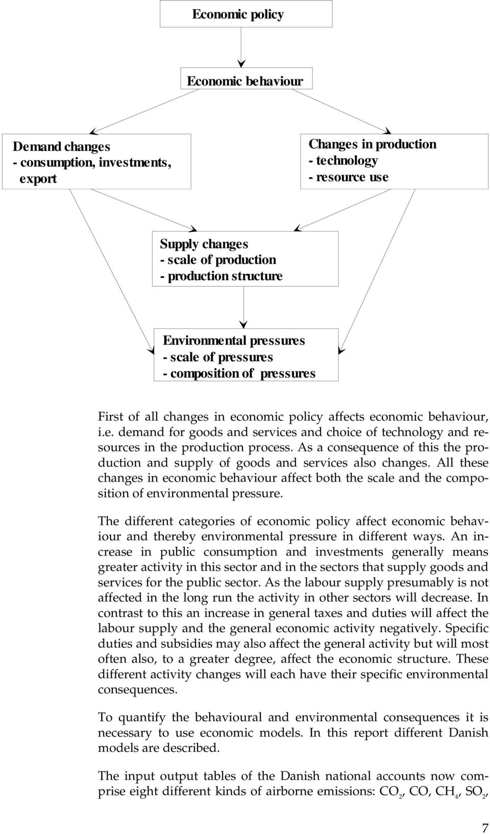 pressures - composition - sammensætning of pressures First of all changes in economic policy affects economic behaviour, i.e. demand for goods and services and choice of technology and resources in the production process.