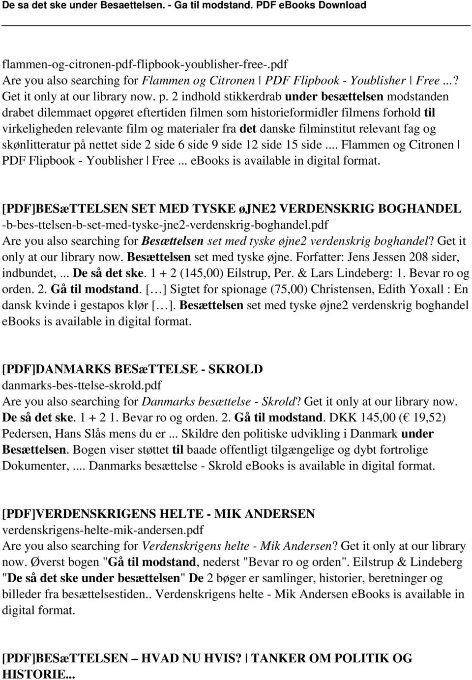 filminstitut relevant fag og skønlitteratur på nettet side 2 side 6 side 9 side 12 side 15 side... Flammen og Citronen PDF Flipbook - Youblisher Free... ebooks is available in digital format.