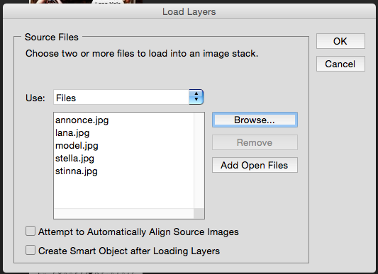 Filer I Photoshop gik jeg under Files- Scripts-Load files into stack.