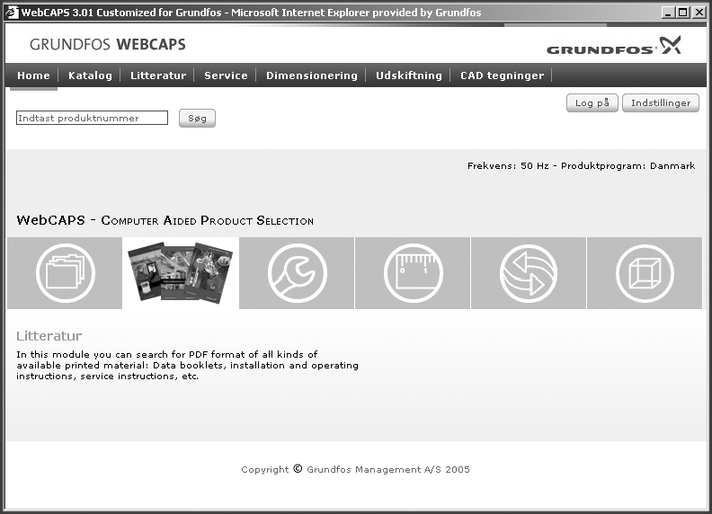Yderligere produktdokumentation WebCAPS WebCAPS er et Web-based Computer Aided Product Selection program (Web-baseret computerstøttet program til produktudvælgelse) og er en web-version af WinCAPS.