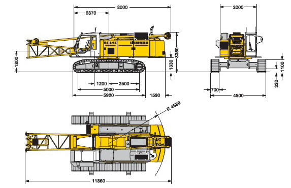boom length with clamshell Max. boom length with dragline Travel speed Swing speed Max.