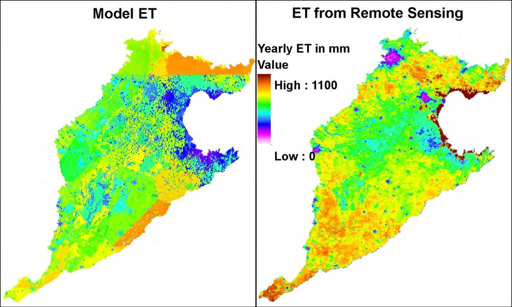 Evapotranspiration NCP-model: semi-distributed due to