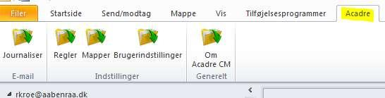 Aktivering af Avanceret Outlook integration (AOI) Åben i ikonet Acadre CM Advanced Outlook Integration