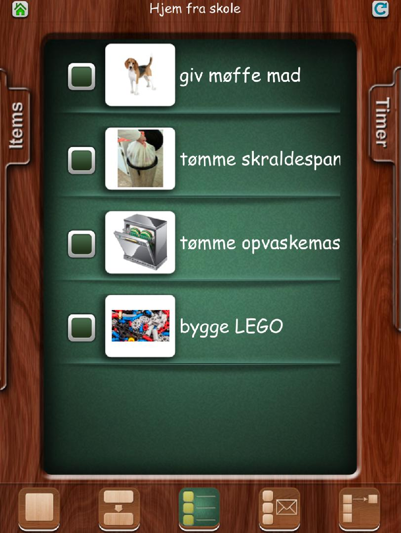 FTVS - First then visual schedule Struktur app - lyd, billede, video,