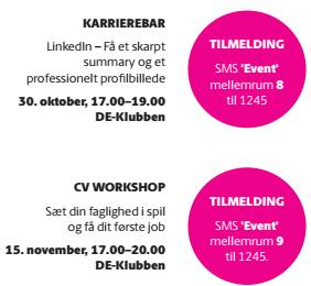 Ses vi? Karrierebar 30. oktober 2017 CV Workshop 15. nov.