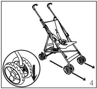 Top Open: GB Push front wheels down and pull Handles up until stroller frame is in upright position. Push down on rear lock brace With foot until it snaps into place.