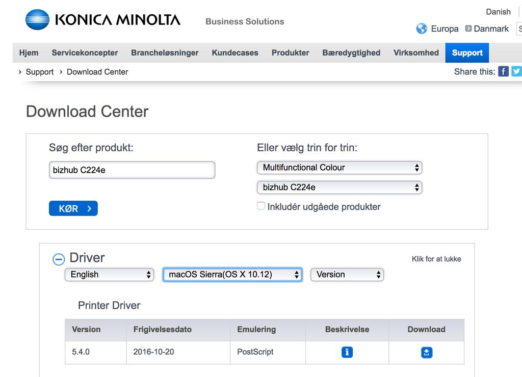 installa'on af printer Konica Minolta Bizhub C 224e MAC Hent driver: Driveren 'l maskinen finder du via de5e link: h5ps://www.konicaminolta.dk/dk/business-solu'ons/support/download-center.
