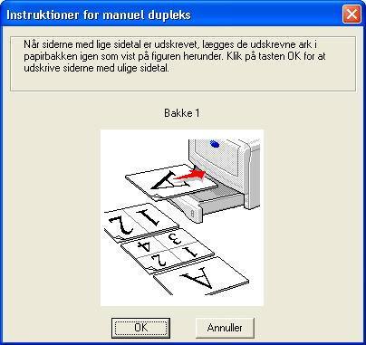 Dupleksudskrivning De leverede PCL-printerdrivere til Windows 95/98/Me, Windows NT 4.0, Windows 2000/XP, Mac OS 8.6 til 9.2 og Mac OS X10.1 eller senere har alle funktionen dupleksudskrivning.