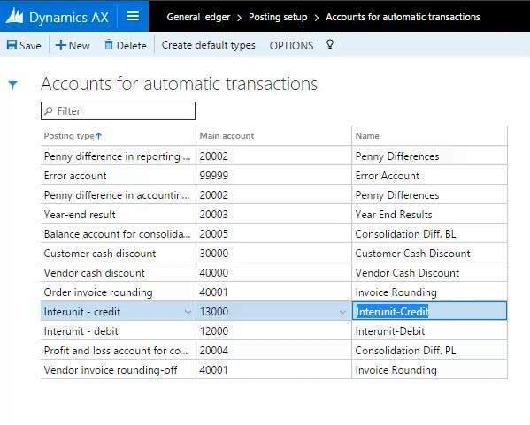 8) The following image shows the setup of accounts for automatic